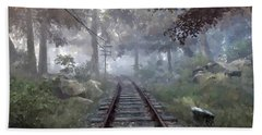 Beach Towel featuring the digital art Rails To A Forgotten Place by Kai Saarto