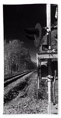 Railway 2 Black And White Beach Sheet