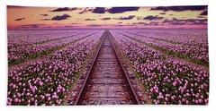 Railway In A Purple Tulip Field Beach Sheet