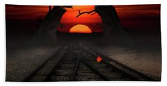 Railway To The Sunset Beach Towel by Mihaela Pater