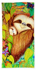 Rain Forest Survival Mother And Baby Three Toed Sloth Beach Sheet
