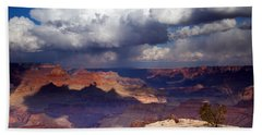 Rain Over The Grand Canyon Beach Sheet by Mike  Dawson