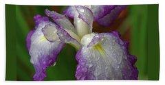 Rain-soaked Iris Beach Towel by Marie Hicks
