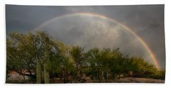 Beach Towel featuring the photograph Rain Then Rainbows by Dan McManus