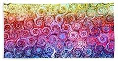 Rainbow Abstract Swirls Beach Towel