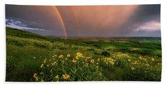 Rainbow At Steptoe Butte Beach Sheet