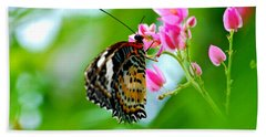 Rainbow Butterfly Beach Towel by Peggy Franz