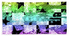 Rainbow Checker Skull Splatter Beach Towel by Roseanne Jones