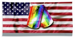 Rainbow Dog Tags Beach Towel
