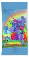 Beach Towel featuring the mixed media Rainbow Dachshunds 1 by Carol Cavalaris