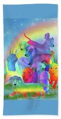 Beach Sheet featuring the mixed media Rainbow Doxies 1 by Carol Cavalaris