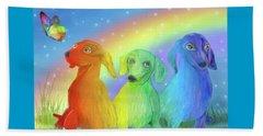 Beach Sheet featuring the mixed media Rainbow Doxies 2 by Carol Cavalaris