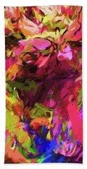Rainbow Flower Rhapsody Pink Cobalt Blue Beach Towel