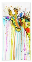 Beach Towel featuring the painting Rainbow Giraffe by Zaira Dzhaubaeva