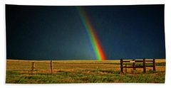 Beach Towel featuring the photograph Rainbow In A Field 001 by George Bostian