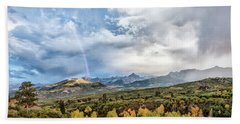 Beach Towel featuring the photograph Rainbow In The San Juan Mountains by Jon Glaser
