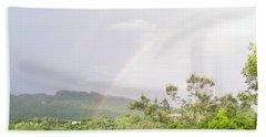 Rainbow In Villalba, Puerto Rico Beach Sheet