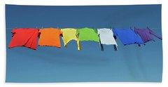 Rainbow Laundry, Bright Shirts On A Clothesline Beach Towel