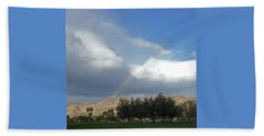 Rainbow Lighting Mountain Top Palm Desert Beach Sheet by Jay Milo
