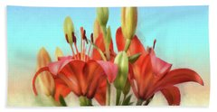 Beach Towel featuring the photograph Rainbow Lilies by Lois Bryan
