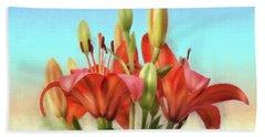 Beach Sheet featuring the photograph Rainbow Lilies by Lois Bryan