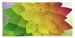 Beach Towel featuring the digital art Rainbow Lotus by Mo T
