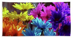 Rainbow Mums 5 Of 5 Beach Towel by Tina M Wenger