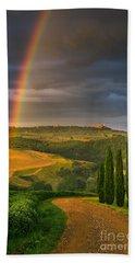Rainbow Near Pienza, Tuscany, Italy Beach Towel
