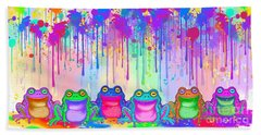 Beach Towel featuring the painting Rainbow Of Painted Frogs by Nick Gustafson