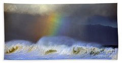 Rainbow On The Banzai Pipeline At The North Shore Of Oahu 2 To 1 Ratio Beach Towel by Aloha Art