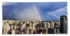 Rainbow Over City Skyline - Sao Paulo Beach Towel