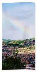 Rainbow Over Funchal Beach Sheet