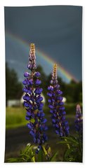 Rainbow Over Lupine  Beach Towel