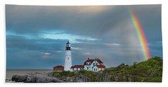Rainbow Over Portland Head Light Beach Sheet