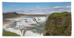 Rainbow Over The Gullfoss Waterfall In Iceland Beach Towel