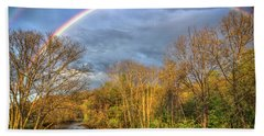 Beach Sheet featuring the photograph Rainbow Over The River by Debra and Dave Vanderlaan
