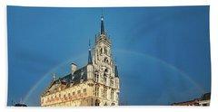 Rainbow Over Town Hall Gouda Beach Towel