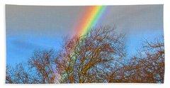 Rainbow Over Trees Beach Towel