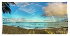 Rainbow Over Waikiki Beach Beach Towel