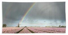 Rainbow Over Windmill And Flower Fields Beach Towel