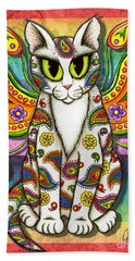 Rainbow Paisley Fairy Cat Beach Towel