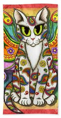Beach Towel featuring the mixed media Rainbow Paisley Fairy Cat by Carrie Hawks