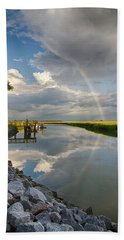 Rainbow Reflection Beach Towel