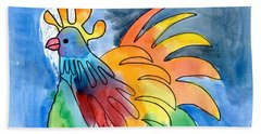 Rainbow Rooster Beach Towel
