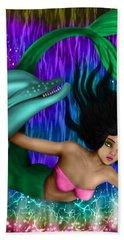 Rainbow Sea Mermaid - Fantasy Art Beach Towel