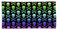 Rainbow Skull And Crossbones Beach Towel by Roseanne Jones