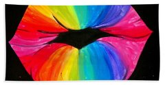 Rainbow Smooch Beach Towel