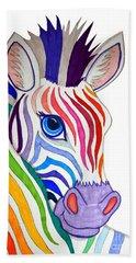 Rainbow Striped Zebra Beach Towel by Nick Gustafson