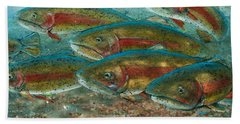 Beach Towel featuring the painting Rainbow Trout Fish Run by Jani Freimann
