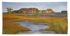 Beach Towel featuring the painting Rainbow Valley Northern Territory Australia by Chris Hobel